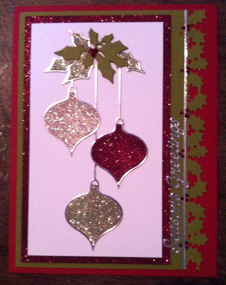 Using Memory Box Clairmont ornaments die. Cas christmas
