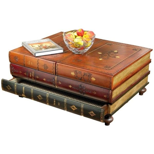 Leather Books Table ($1,995) ❤ liked on Polyvore