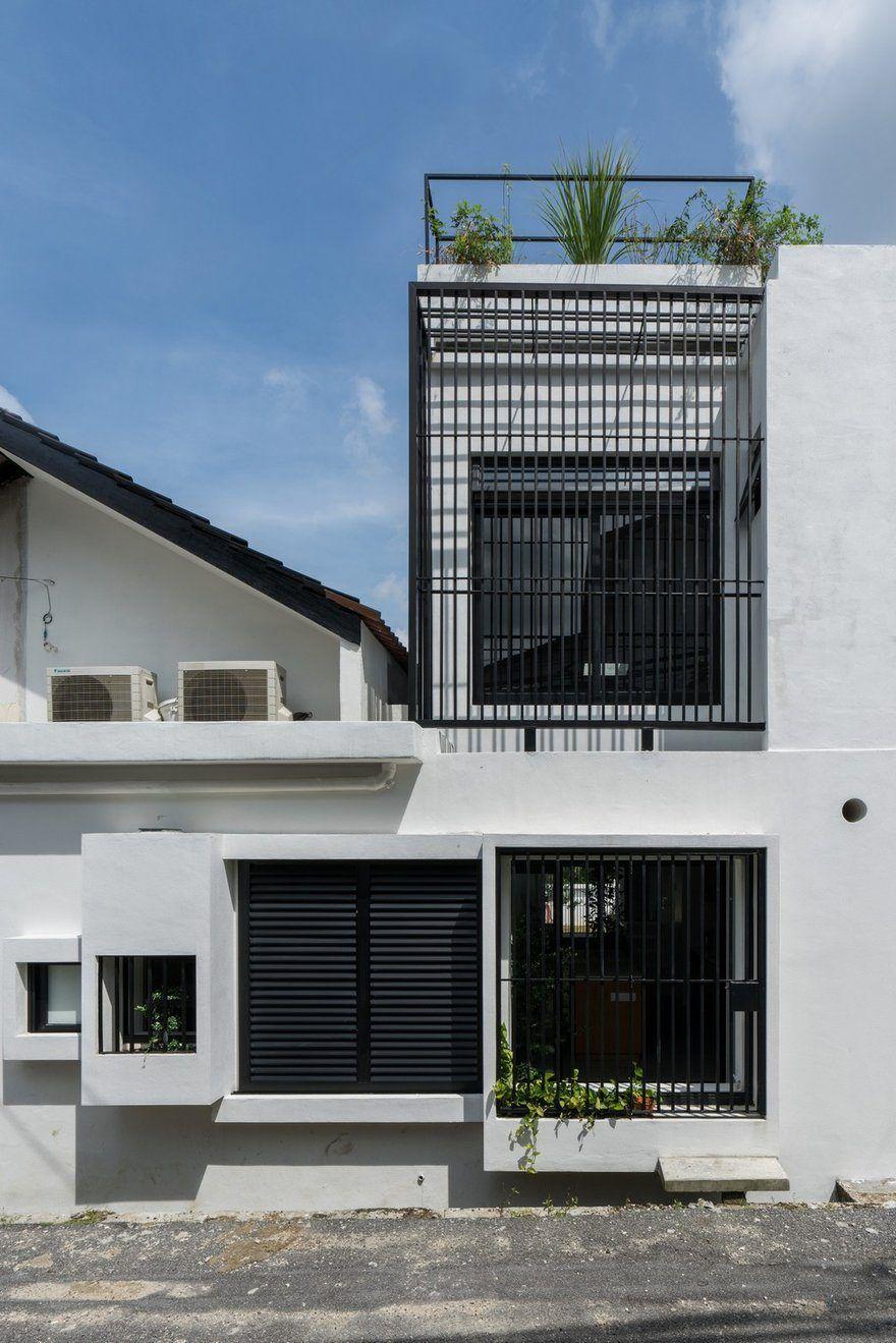 Minimalist Single Storey Terrace House Fabian Tan Architect Terrace House Exterior Terrace House One Storey House