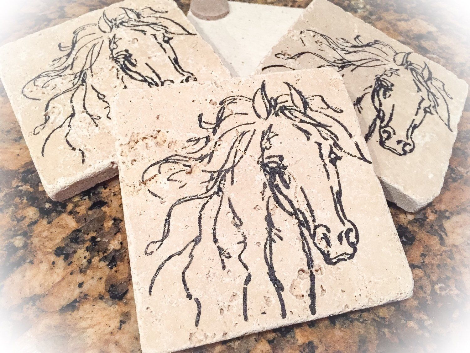 Horse coasters, travertine coaster set, coasters, horse coaster set, travertine horse coasters by LittleThingsByLaurie on Etsy https://www.etsy.com/listing/277681852/horse-coasters-travertine-coaster-set