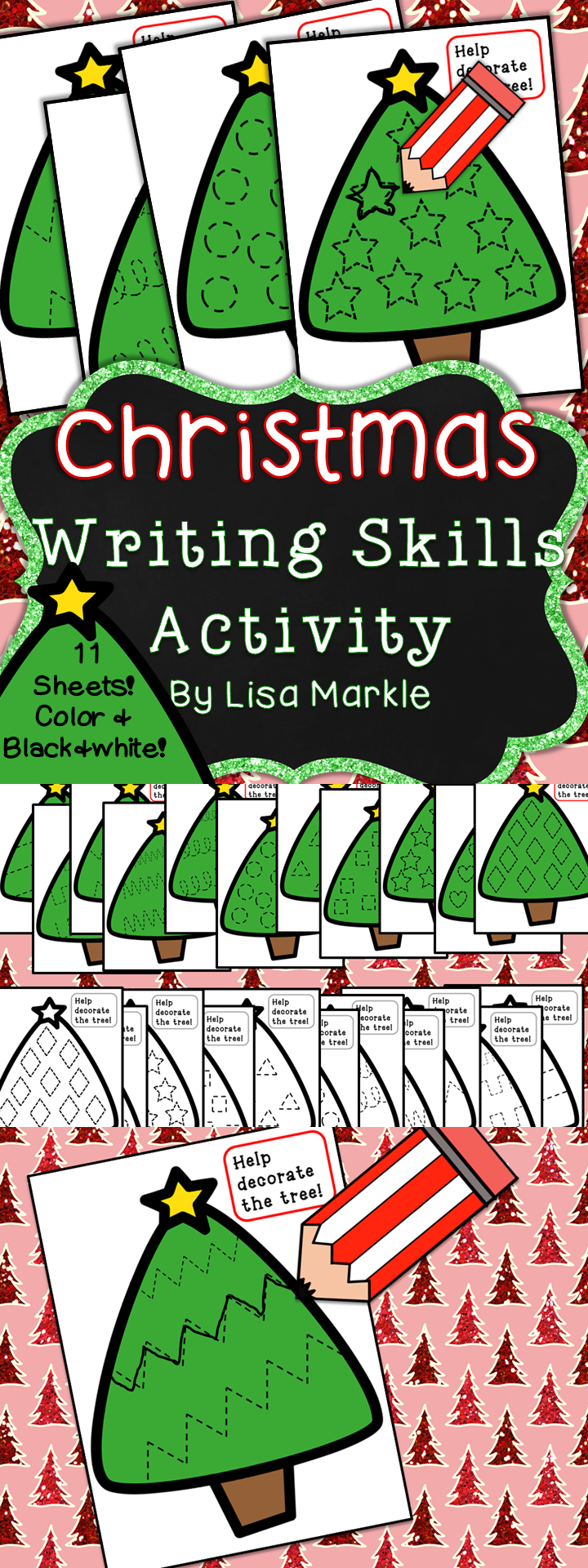 Christmas Tree Writing Skills Center Activity for Preschool | Color ...