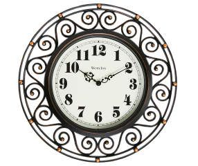 Bronze Westclox 32021 Round Filigree Rubbed Clock 12-Inch