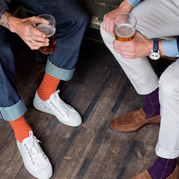e87d4028d8a44 London Sock Company's Shaken and Stirred Russet Socks and Ottaway Style  Purple