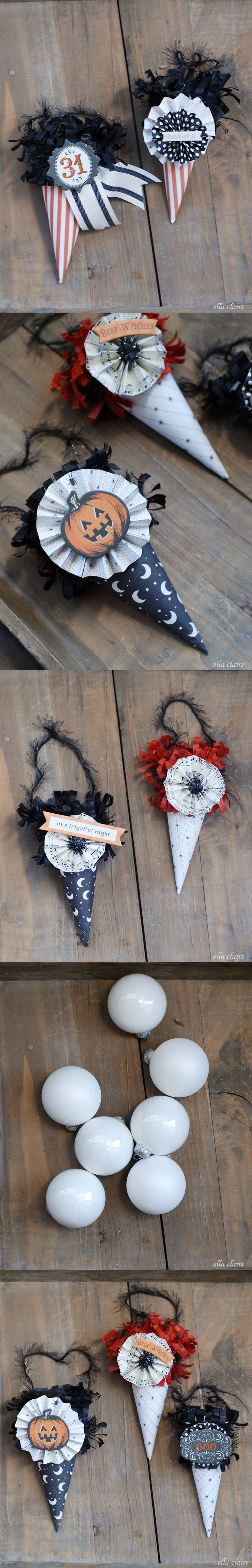 Halloween paper cone ornaments by Ella Claire