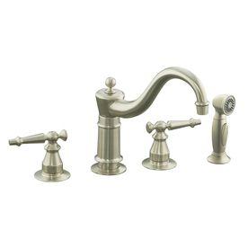 Kohler Antique Vibrant Brushed Nickel 2 Handle Low Arc Kitchen Faucet