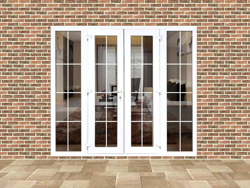 online store cd120 44890 5ft uPVC Georgian French Doors with 2 Wide Side Panels ...