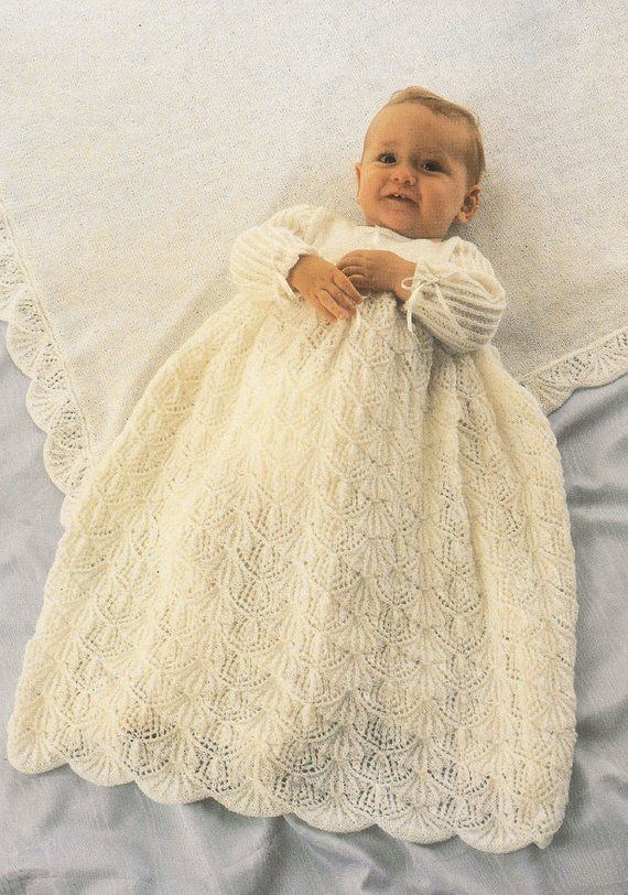 8ac25b315 Vintage Knitting Pattern Baby Girl Long Heirloom Christening Gown Dress and  Shawl Set PDF Instant Digital Download Baptism 0-6m 3 Ply