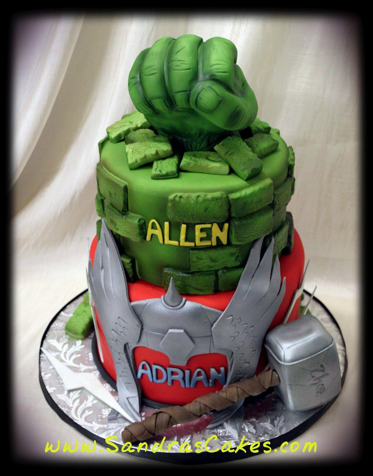 Sandras Cakes Hulk and Thor Birthday Cake Avengers Birthday