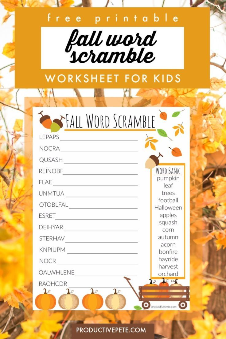 Fall Word Scramble for Kids Fall words, Worksheets for