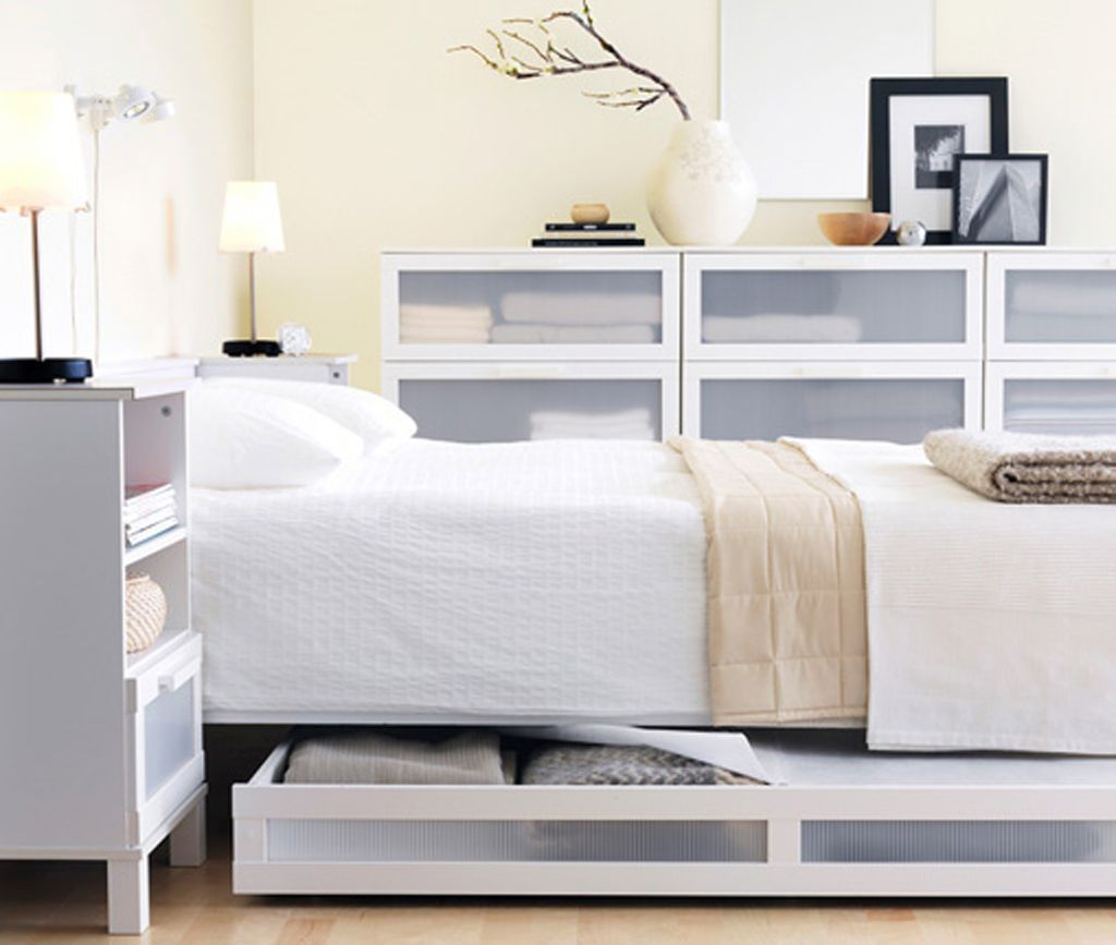Bedroom minimalist ikea bed furniture set in clean white for Modern minimalist bedroom furniture