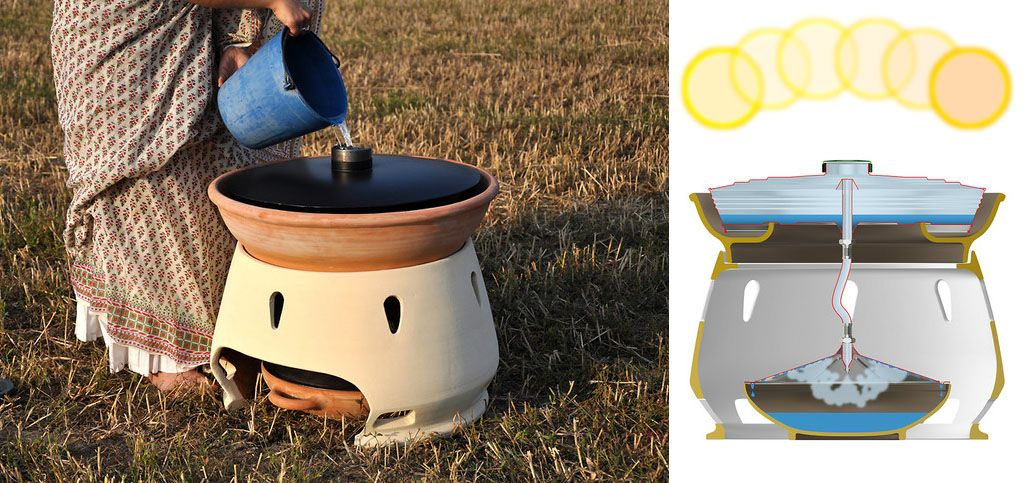 Solar oven makes salt water into fresh drinkable water by designer Gabriele Diamanti