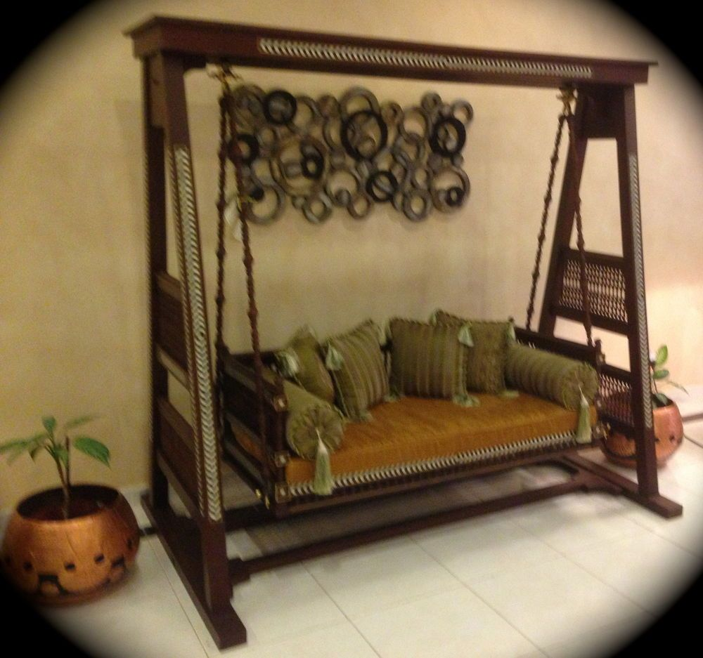 Stunning indoor indian swing jhoola wooden carved and for Garden jhoola designs