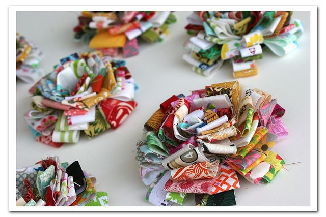 Fabric Scrap Flowers by Rebecca Sower, via Flickr