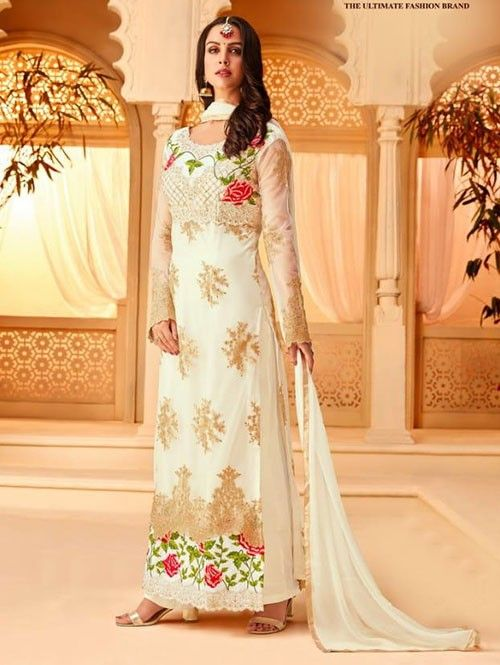 Off White Colored Heavy Embroidered Original Net Salwar ...
