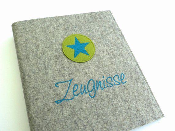 Zeugnismappe DIN A4 Wollfilz Mappe Ordner Schule Grundschule Zeugnisse Name