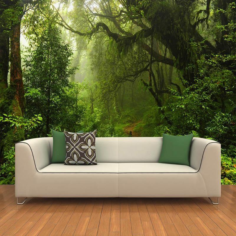 Photo 3d Wallpaper Custom Natural Sunlight Green Eye Forest