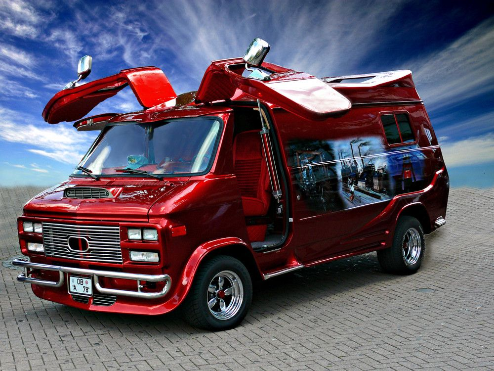Red Chevy Van With Gull Wing Doors Printing Pinterest