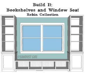 window seat bookshelf reading builtin window seat and bookcases free plans from sawdustgirlcom bench plans pinterest window free room