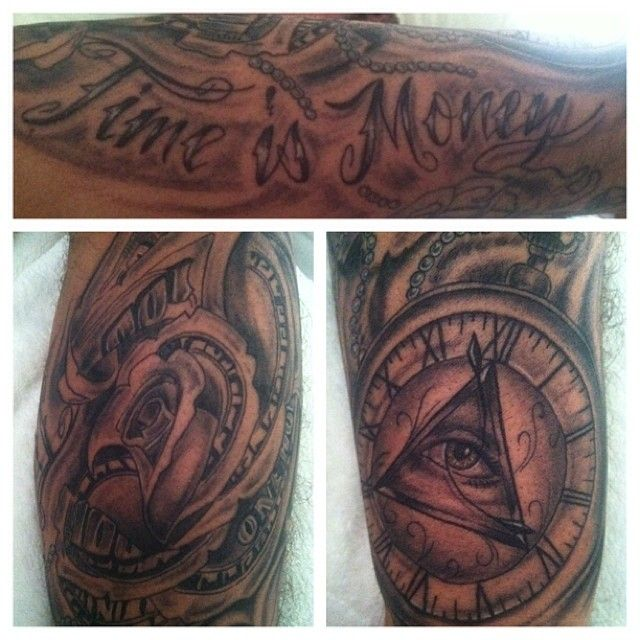 My hubs new tat from atomic time is money with a money for Time is money tattoo