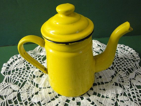 Enamelware Tea Pot Made In Japan Yellow With by WoodWindsAntiques, $22.00
