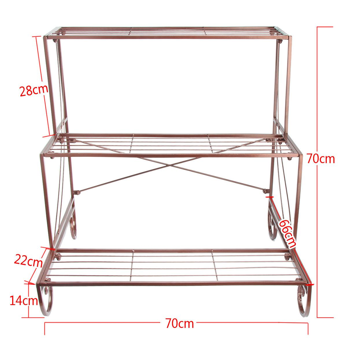 Metal Plant Stand 3 Tier Flower Pot Holder Outdoor Garden ...