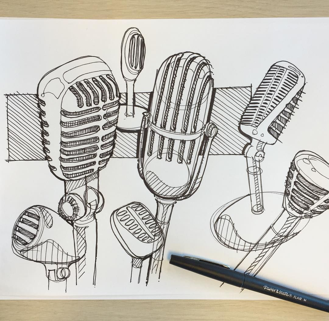 channeling some inner doodleness on some #vintagemicrophones #design #sketching