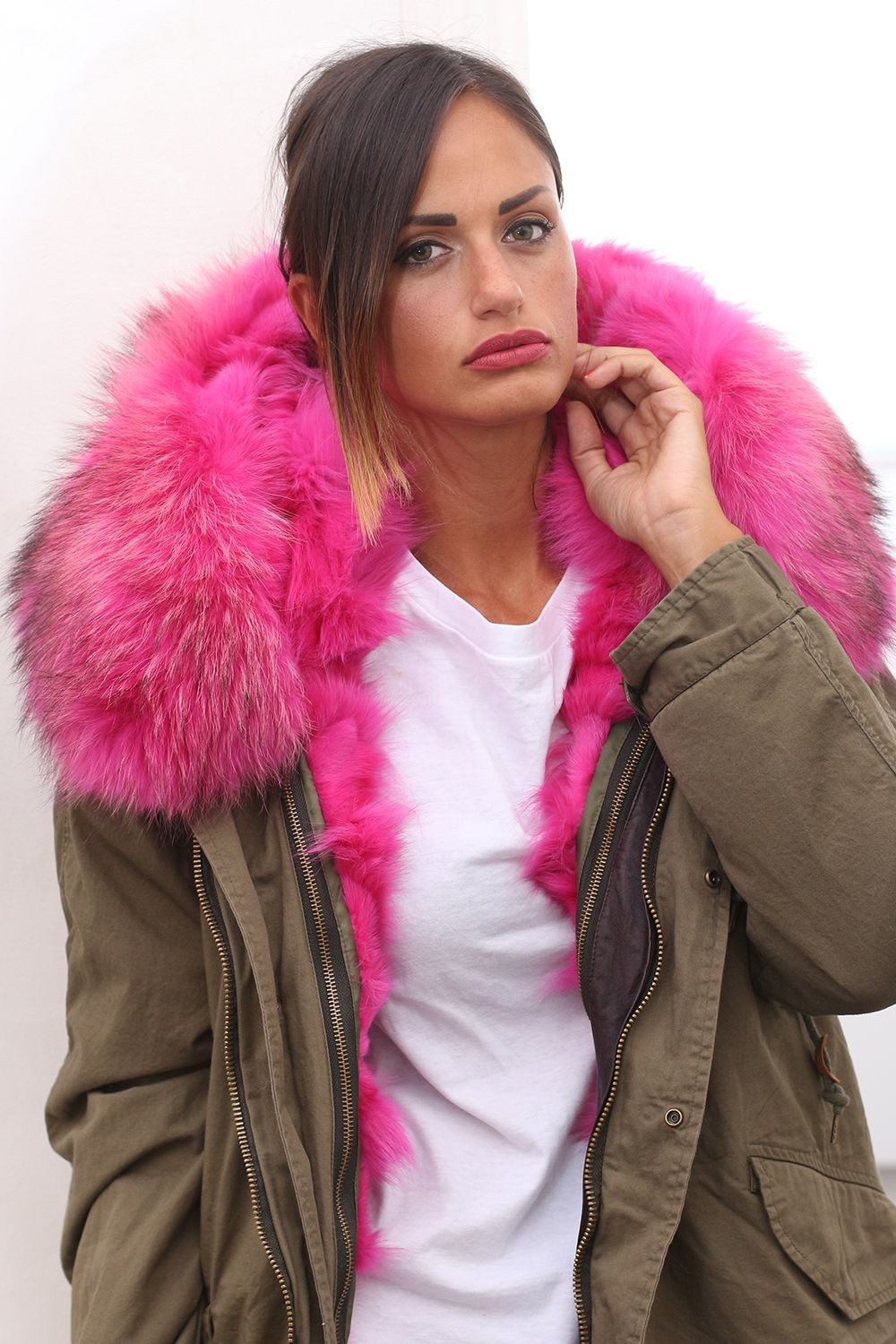 Parka with Fox Fur. Made in Italy. Color: Green-Pink; Hood; Long sleeves with quilted lining and button fastening cuffs; Flapped front pockets; Internal drawstring waist and hem; Curved back hem, centre-back hem slit; Concealed zip centre-front fastening; Length: 85 cm; #parka #elsafur #fur #furs #furcoat #coat #mink #minkcoat #cappotto #peliccia #pellicce