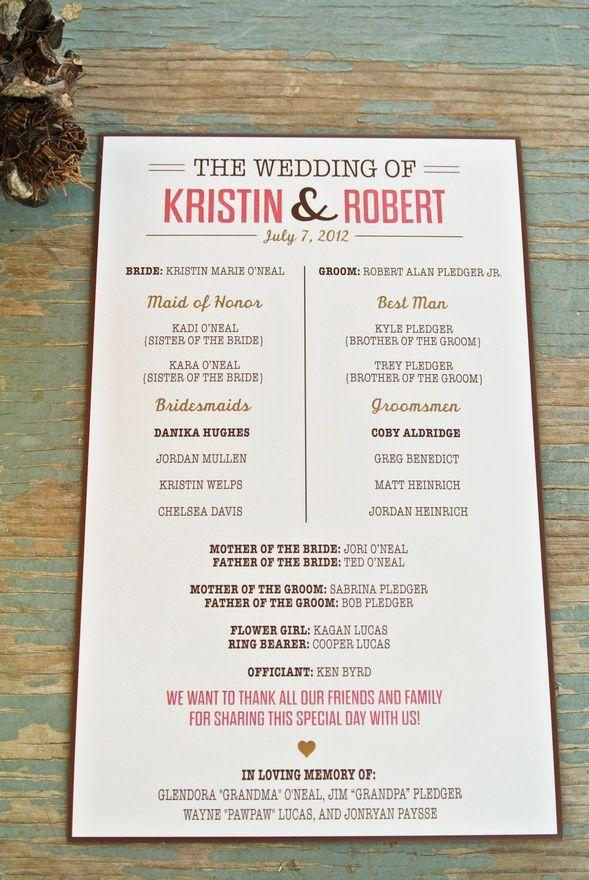 Rustic Wedding Program. somebody-s-getting-married | Wedding Ideas ...