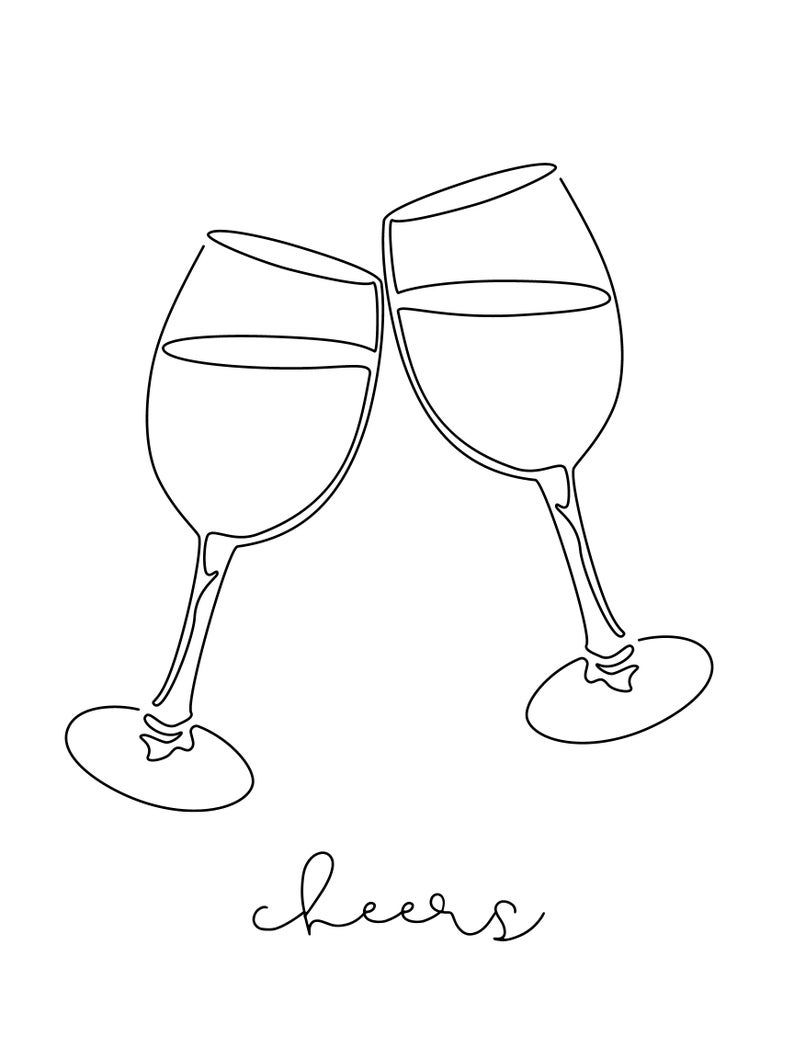 Photo of Abstract Minimalist Wine Glasses Line Art, Cheers Kitchen Sign, Cheers Happy Hour Print
