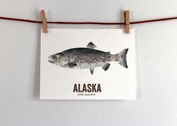 Alaska State Fish Map art Nature Outdoor art Vintage Map art Art print Wall decor Fish Art Gi