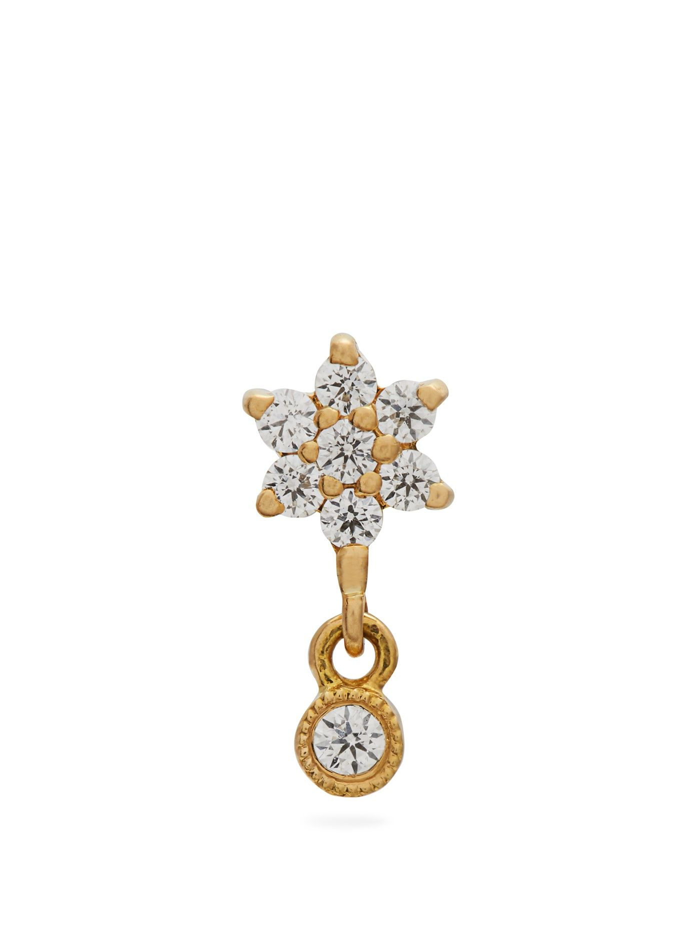 Maria tash diamond u yellowgold single earring accessories