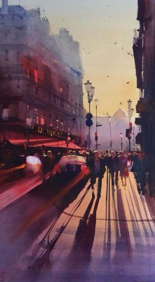 Alvaro Castagnet Paris Watercolor City Landscape Paintings Watercolor Architecture