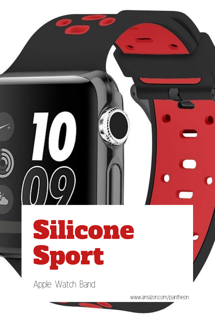 Red + Black Silicone Sport Apple Watch Band Protect your