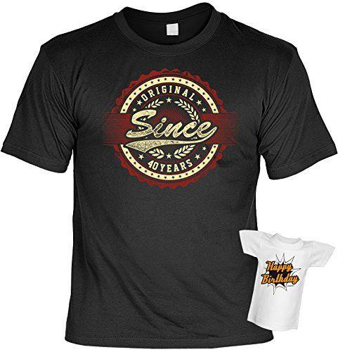 T-Shirt 40.Geburtstag Geschenkset : Original Since 40 Years - T-Shirt Set Goodmann ® + Mini T-Shirt Gratis: Amazon.de: Bekleidung #lustigegeschenke