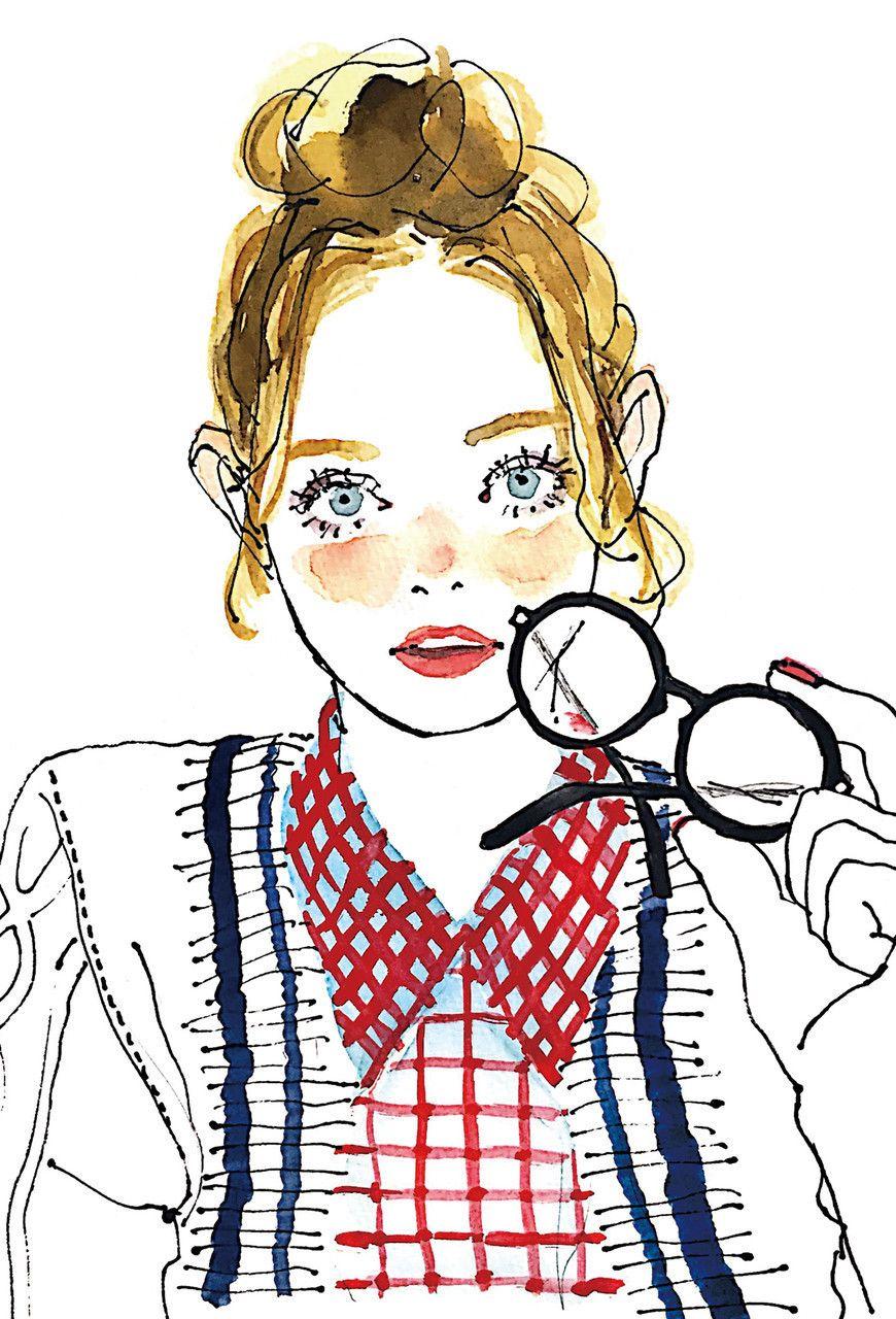2018 年の「土屋みよ,メガネ女子,miyo-tsuchiya,イラスト,水彩画風