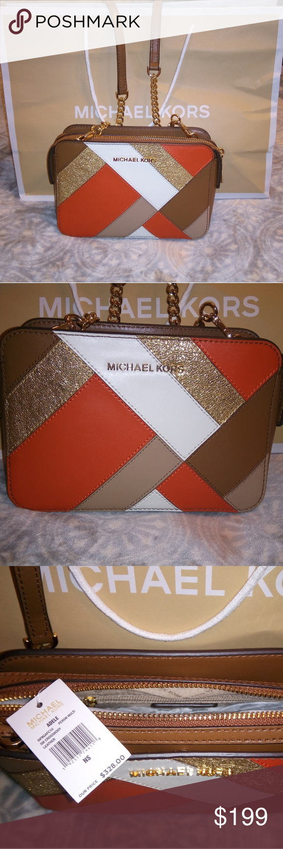 698fdcddba4f Michael Kors Crossbody This is for a NWT Michael Kors Adele Crossbody.  Measurements: 10.5'W x 6.5'H 100% Leather Adjustable strap 22 3/4 in - 25  1/4 in ...