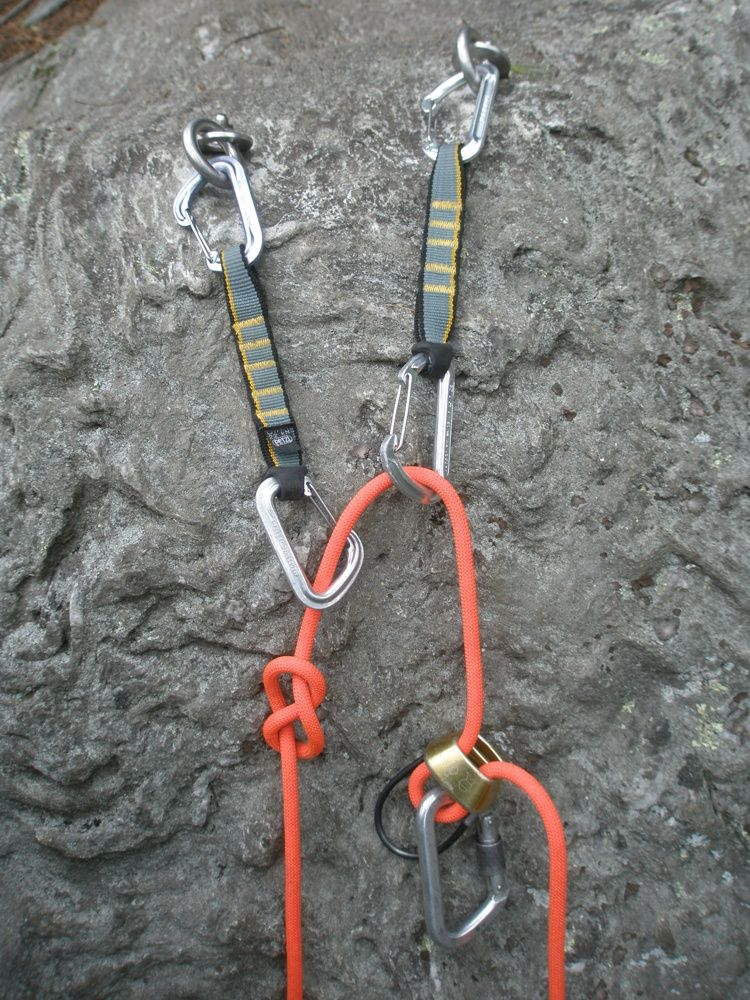 Top rope (sport) climbing anchor. Could be improved if used lockers!