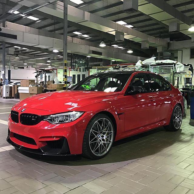 Instagram Media By Abudhabi Motors M3 Competition Package Ferrari Red 450 Shp Torque 550 Nm 0 100 4 0 Sec Weight 1610 Kg Abudhabi M Bmw Bmw M3 Bmw Wheels