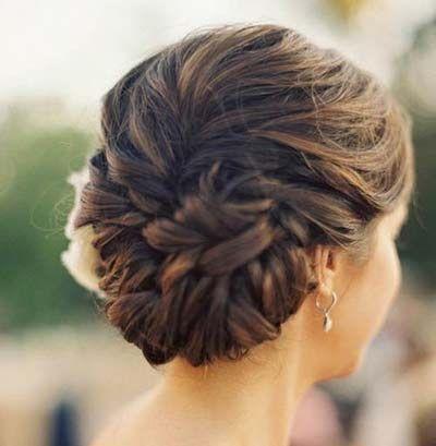Casual-braided-bun-Hairstyle | Pearl hair pins, Prom hair ...