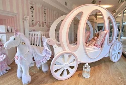 Amazing Princess Furniture Set with Fairy Tale Theme and Carriage Bed with Unicorn by Lacote