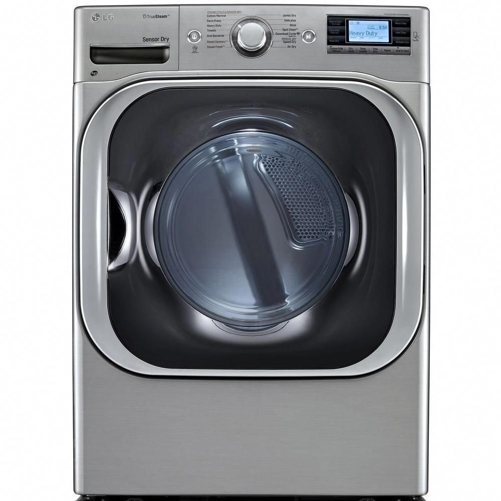 Lg Electronics 9 0 Cu Ft Electric Dryer With Steam In Graphite Steel Dlex8500v The Home Depot Electric Dryers Gas Dryer Steam Dryer
