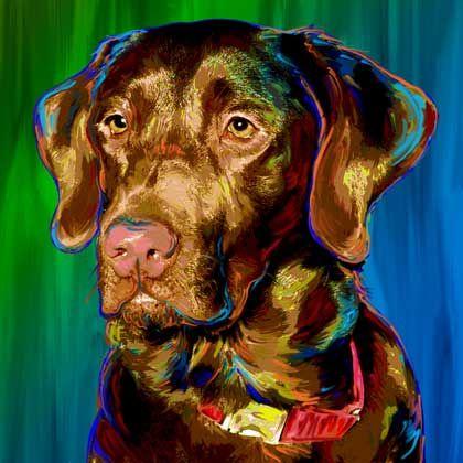 Choc Lab Labs Art Puppy Art Pet Portraits