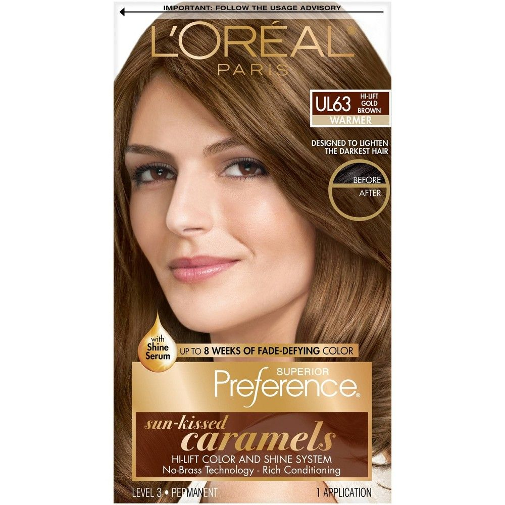 L Oreal Paris Superior Preference Sun Kissed Caramels 6 5 Fl Oz Ul63hi Lift Gold Brown 1 Kit In 2020 Luminous Hair Color At Home Hair Color Permanent Hair Color