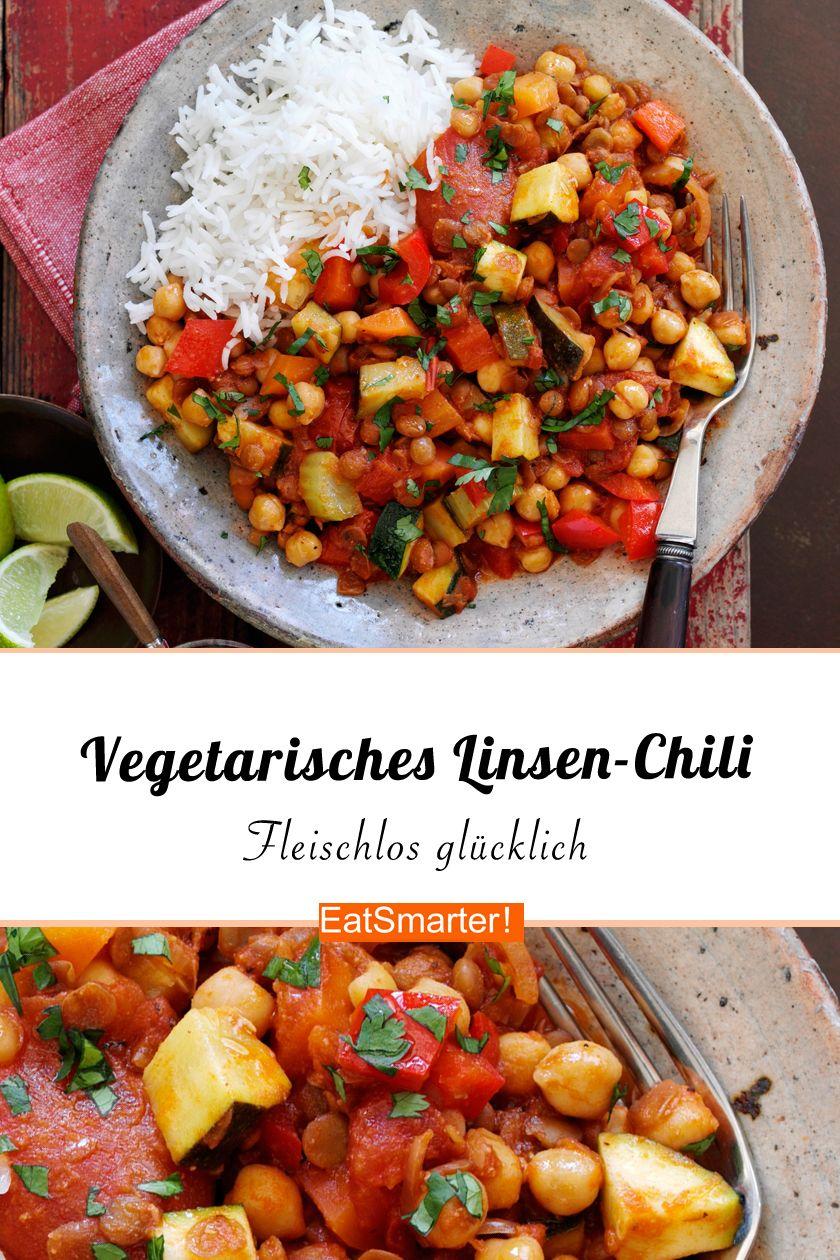 Vegetarisches Linsen-Chili mit Reis #veggiechilirecipe