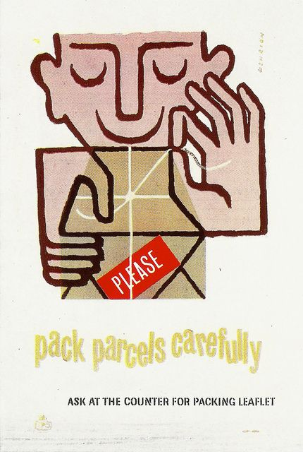 Gpo Pack Parcels Carefully Poster C1955 Designed By F H K