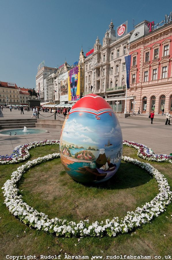 Giant Painted Easter Egg In Jelacic Square Zagreb Croatia Zagreb Croatia Zagreb Croatia