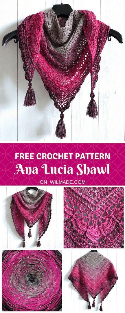 Ana Lucia Shawl - free crochet shawl pattern by Wilmade #shawlcrochetpattern