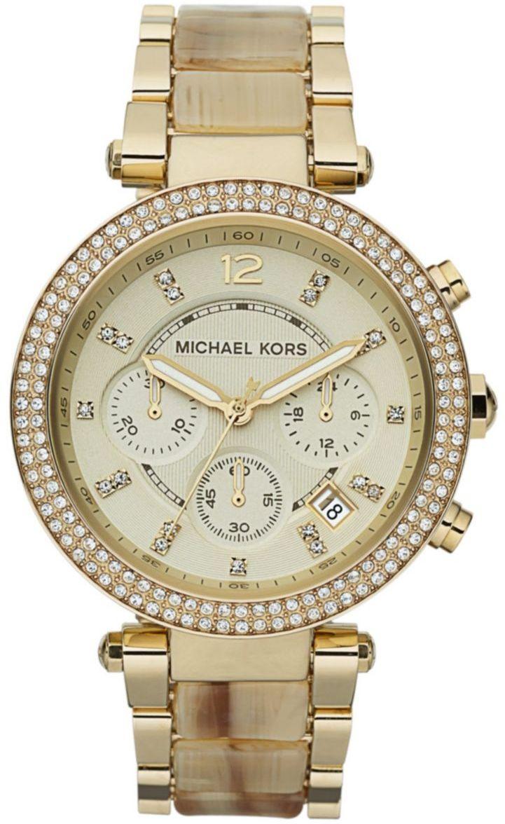 MICHAEL KORS Ladies Parker Goldtone and Horn Glitz Watch Relógios Femininos,  Relógios Para Homens, 0182f6fef0
