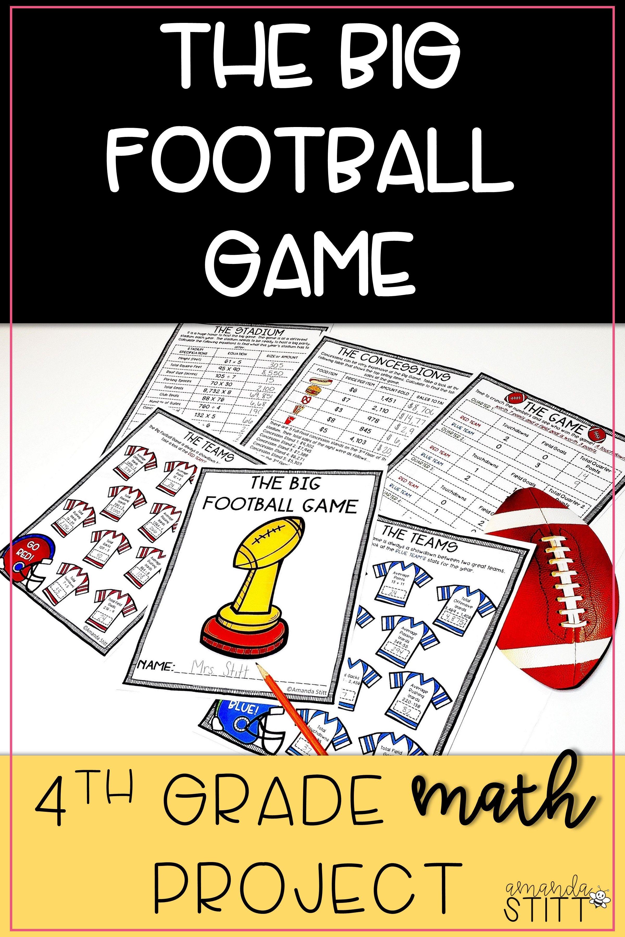 Super Bowl Math Activity Football Math Project 4th