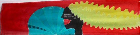 Ella y el abanico.  180x45 cm. tinta sobre seda Alejandra Rubies 2012